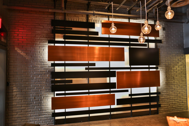 steel copper plated feature wall