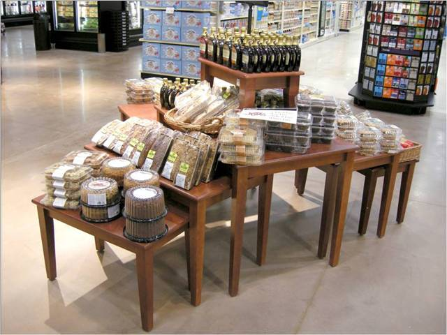 Tiered nesting tables cms display fixtures